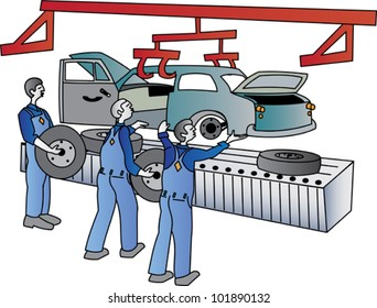 Workers on a motor vehicle assembly line
