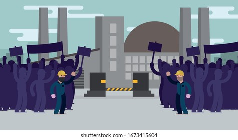 workers on strike in front of a factory. Factory closed, bankrupt
