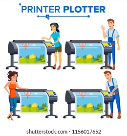 Workers With Plotter Set Vector. Woman, Man. Prints Beautiful Picture, Banner. Print Service. Large Format Multifunction Printer. Polygraphy. Full Color Latex, Laser Printer. Printshop. Illustration