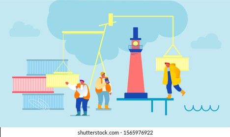 Workers in Port Terminal, Harbour Dock with Lighthouse, Cranes Loading Cargo on Ship. Maritime Logistics International Worldwide Service. Cargo Shipping Distribution. Cartoon Flat Vector Illustration