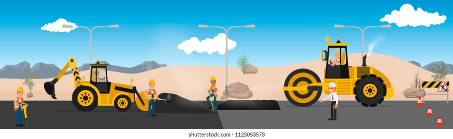 Workers repair the road in the desert. vector illustration, flat style design.