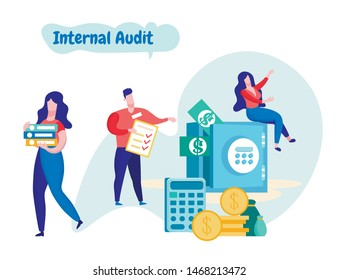 Workers Room Conducts Financial Audit. Internal Audit. Business Solutions. Team Workers Planning. Vector illustration. Analysis and Statistics. Man with Notebook. Woman Sits on Safe.