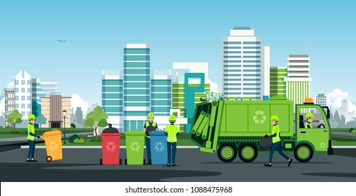 Workers are working with garbage trucks with backdrop buildings.