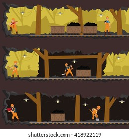 workers working in the mine at different levels. men extract coal in the mine. vector.