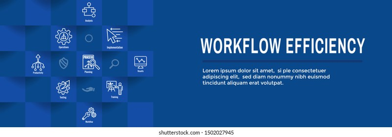 Workflow Efficiency Icon Set & Web Header Banner with Operations, Processes, Automation, etc