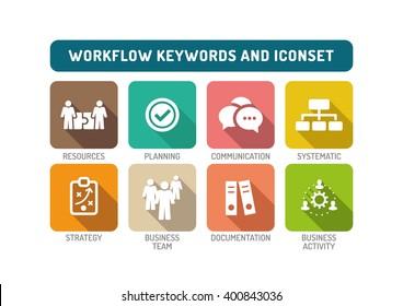 Workflow Flat Icon Set