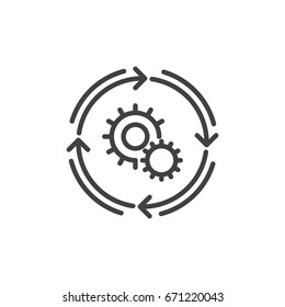 Workflow line icon, outline vector sign, linear style pictogram isolated on white. Automation symbol, logo illustration