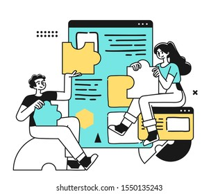 Workflow Management Business Concept Illustration. Startup Team Planning Their Work. Modern Outline vector Style.