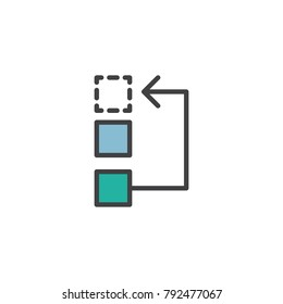 Workflow or process filled outline icon, line vector sign, linear colorful pictogram isolated on white. Symbol, logo illustration. Pixel perfect vector graphics