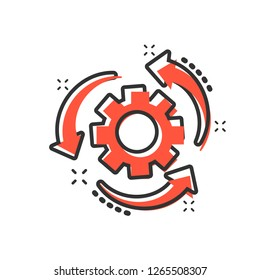Workflow process icon in comic style. Gear cog wheel with arrows vector cartoon illustration pictogram. Workflow business concept splash effect.