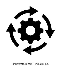 Workflow process icon in flat style. Gear cog wheel with arrows vector illustration on white isolated background. Workflow business concept.