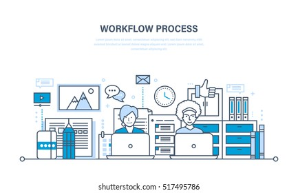Workflow, teamwork, workplace and environment, software and hardware, the thought process and communication. Illustration thin line design of vector doodles, infographics elements.