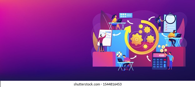 Workforce organization and management. Workflow processes, workflow process design and automation, boost your office productivity concept. Header or footer banner template with copy space.