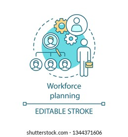 Workforce planning concept icon. Recruiting process idea thin illustration. Employment. Business strategy. Talent acquisition. Source potential hires. Vector isolated outline drawing. Editable stroke