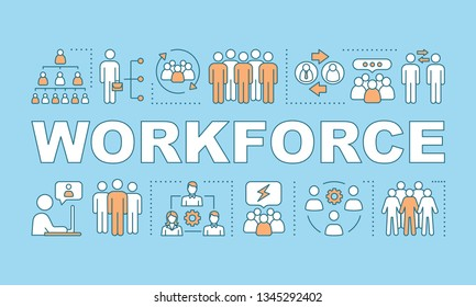 Workforce word concepts banner. Potential candidates. Recruiting, HRIS. Storing worker data. HR resource. Presentation, website. Isolated lettering typography idea, icons. Vector outline illustration