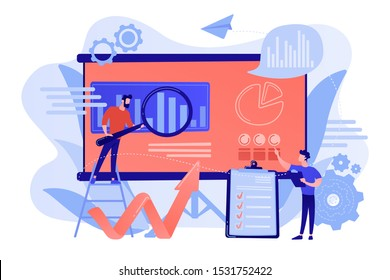 Workgroup admit and identify, measure and prioritize, implement a strategy. Risk management team, risk management training and objective concept. Pinkish coral bluevector isolated illustration