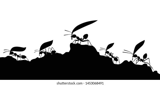 Working ants with leaves silhouette vector, Teamwork concept
