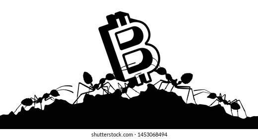 Working ants with money currency silhouette vector, Teamwork concept