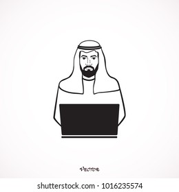 Working Arabic  man in traditional muslim hat. Isolated on White Background - Vector.