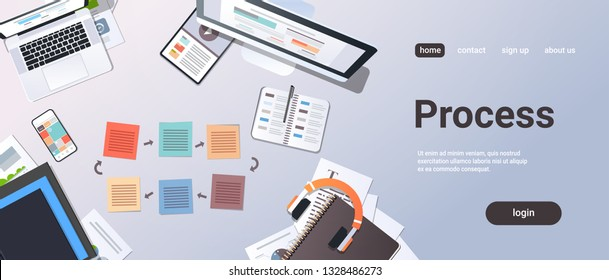 working business cyclic arrows process top angle view desktop laptop tablet smartphone screen paper documents office stuff horizontal copy space