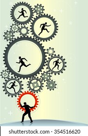 Working business leaders-Conceptual illustration of correct teamwork placement on a fast pace environment.