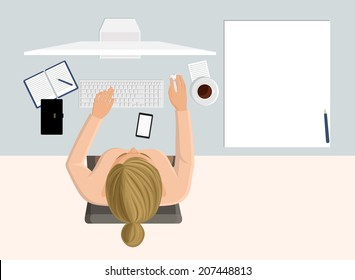 Working business woman on computer on workplace in office top view vector illustration