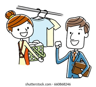 A working businessman and a woman who hangs washing