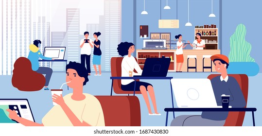 Working in cafe. Coffee store, business coworking inside bar. Friends meeting, smiling people work computer, and barista vector illustration