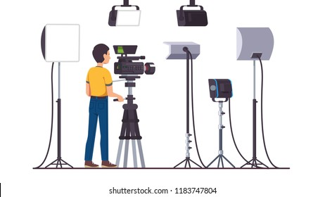 Working cameraman shooting with professional video camera on stand. Television productions studio with stage lighting equipment, softbox, LED, spot, continuous, flood lights. Flat vector illustration