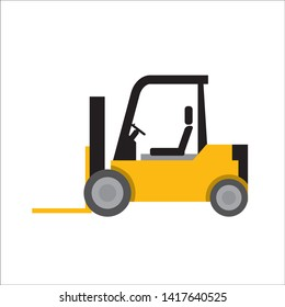 Working car illustration, forklift, anime style, cartoon touch, mini car