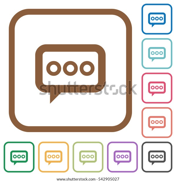 Working chat simple icons in color rounded square frames on white background
