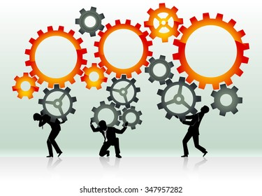 Working with Cogs-Abstract business concept, trace from my sketch, human figures are in different layers
