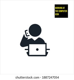 Working at the computer icon stock illustration.sales icon,  salesperson icon. The icon is depicted in a sales-related situation.