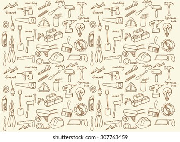 Working construction tools vector seamless background