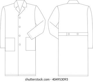 Working cooking medicine coat. Fashion sketch design vector illustration