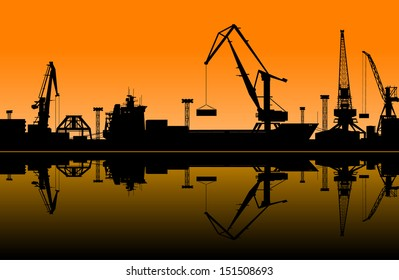 Working cranes in sea port for cargo industry design. Jpeg (rasterized) version also available in gallery