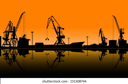 Working cranes unload cargo in seaport. Vector illustration for industrial design. Jpeg (rasterized) version also available in gallery