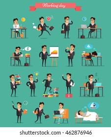 Working day concept set. Vector in flat style. Businessman in office work situations. Planning, browsing, calling, dreaming, sleeping, break, victory, paper work, hurry, fatigue, stress illustrations.