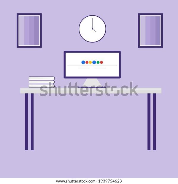 Working desk, illustration, vector on white background.