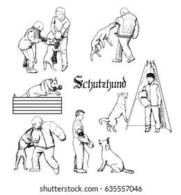 Working dog sketches. Schutzhund dog sport training illustration. Hand drawn dog trainers in action. Dog sport equipment.