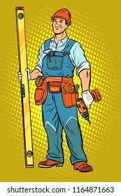 working with a drill, home repair. Pop art retro vector illustration vintage kitsch