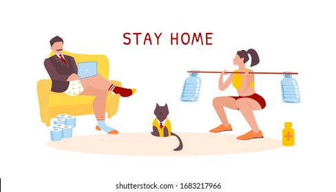 Working and fitness at home during coronavirus quarantine. Stay home concept. Businessman in underpants hold online webinar. Sport woman do bodybuilding exercise (squat) with improvised barbell. Cat.
