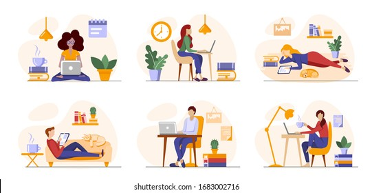 Working freelance, learning or studying at home. Freelancers or students working online in laptops, tablets in a cosy atmosphere with books, plants. Self-employed people work in convenient conditions