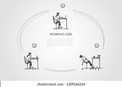 Working girl - girl sitting with laptop, working and becoming exhausted vector concept set. Hand drawn sketch isolated illustration