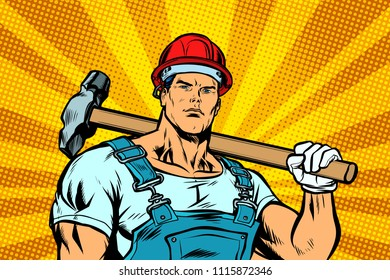 Working with hammer. Pop art retro vector illustration kitsch vintage drawing