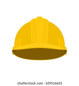 Working Hard Hat, Yellow Safety Helmet on White Background , Vector Illustration