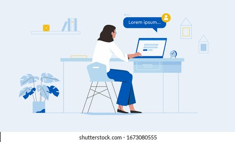 Working from home. Busy Business Woman or Freelancer Working on Laptop Sitting at Table Workplace Thinking of Task. Freelance Outsourced Employee Occupation Brainstorm.
