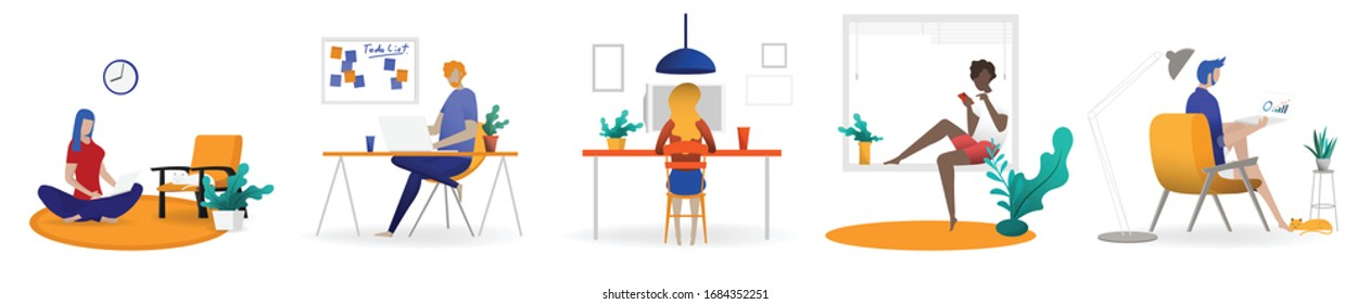 Working at home concept, Coworking space flat illustration. Young people, man and woman freelancers working at their home. Home office in covid-19 crisis. Vector flat style self employed illustration