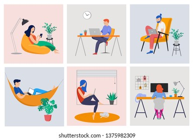 Working at home, coworking space, concept illustration. Young people, mаn and womаn freelancers working on laptops and computers at home. Vector flat style illustration