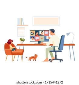 Working at home. Father and school-girl working from home, using internet and e-learning. Businessman with group of colleagues in video conference in quarantine pandemic. Cartoon vector illustration.